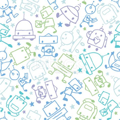 Fun Doodle Robots Seamless Pattern Background Stock Vector