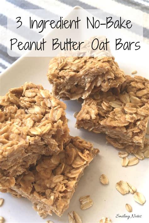 3 ingredient no bake peanut butter oat bars