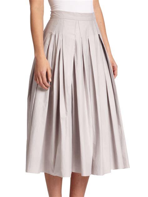 dkny cotton poplin pleated skirt in gray lyst