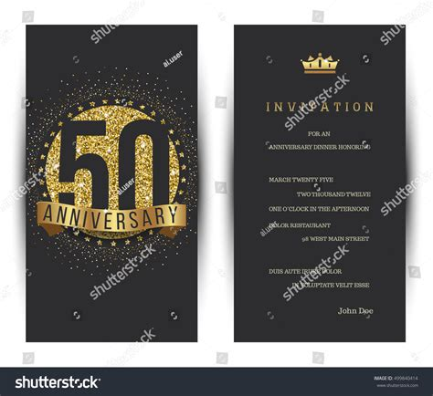 50th Anniversary Card Template by 50th Anniversary Decorated Greeting Card Template Stock