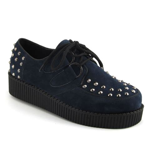 Flats Bg 6 Navy Flats Shoes Supertu platform brothel lace up womens flat stud spike creepers shoes ebay