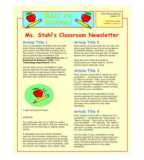 Classroom Newsletter Template 9 Free Word Pdf Documents Download Free Premium Templates School Newsletter Templates