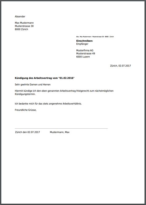 Brief Innerhalb Schweiz K 252 Ndigung F 252 R Ihren Arbeitsvertrag Als Pdf Erstellen