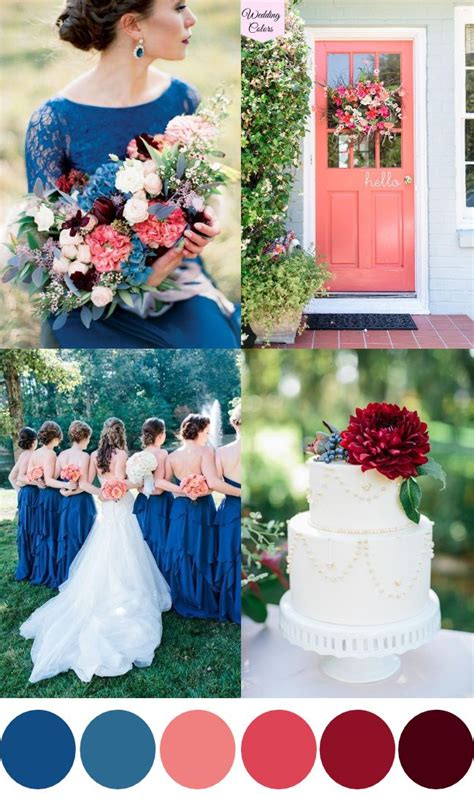 a royal blue coral cranberry wedding palette