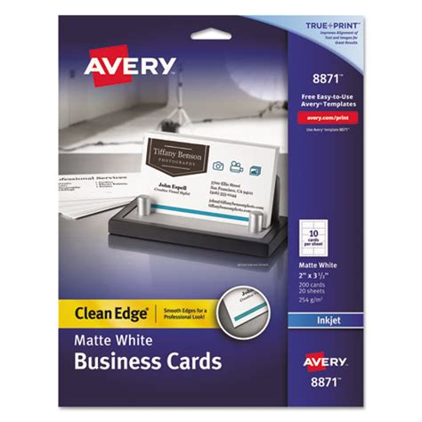 Avery Smooth Edgebusiness Card Templates by True Print Clean Edge Business Cards Inkjet 2 X 3 1 2