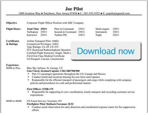 Professional Pilot Resume Template Bizjetjobs Com Commercial Pilot Resume Template
