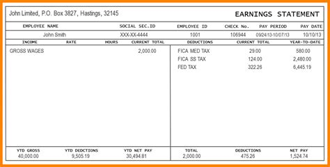 1099 pay stub template free 5 pay stub for 1099 employee sles of paystubs