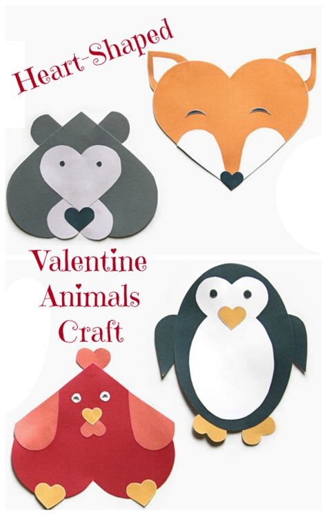 printable valentine animal crafts heart shaped valentine animals craft jinxy kids
