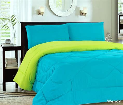Down Alternative Reversible Comforter Turquoise Lime