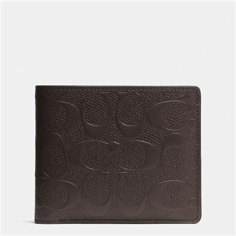 Coach Wallet lyst coach compact id wallet in signature crossgrain