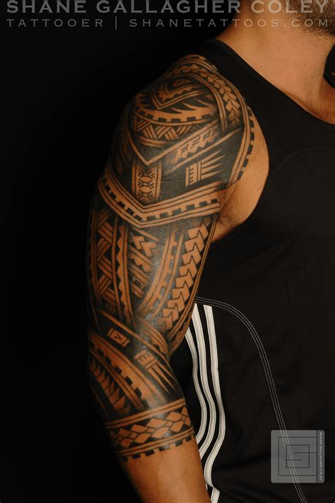 polynesian arm tattoo shane tattoos polynesian sleeve tatau
