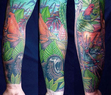 jungle sleeve tattoo scenery tattoos looking for unique nature animal frog