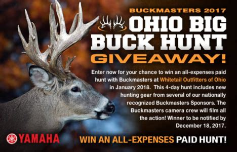 Free Hunt Giveaways - buckmasters ohio big buck hunt giveaway 2017 win an all expenses paid hunt