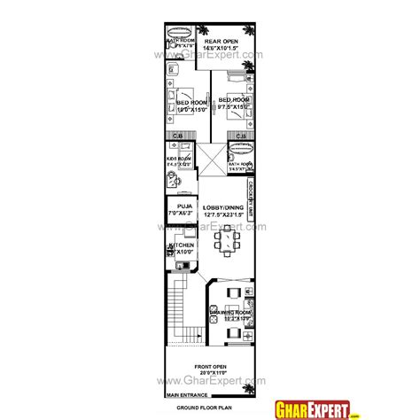 home design for 30x50 plot size 20 60 house plan