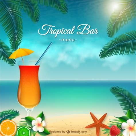 Tropical Bar Menu Vector Free Download Tropical Menu Template Free
