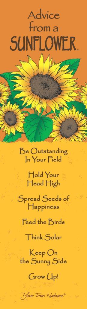 printable sunflower bookmarks advice from a sunflower laminated bookmark your true