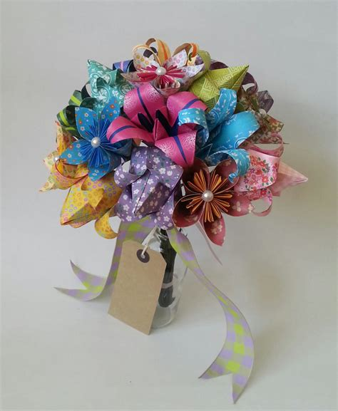Origami Tulips Bouquet - paper anniversary gift origami bouquet tulip