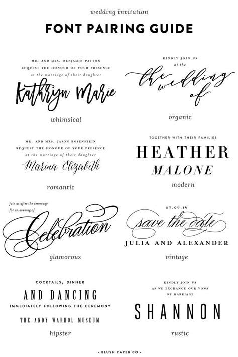 guide to using fonts on wedding invitations   Web   Fonts