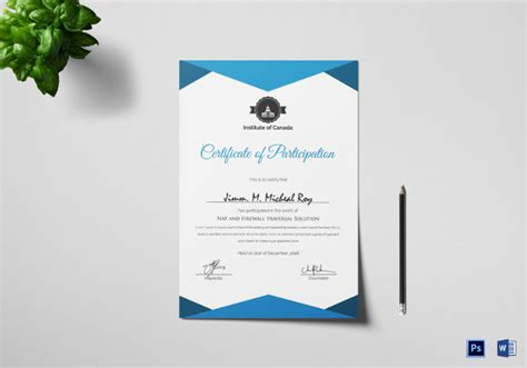 conference certificate of participation template 27 participation certificate templates pdf doc psd f