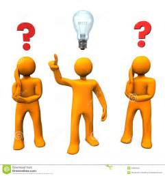 Manikins questions idea orange cartoon characters red question marks