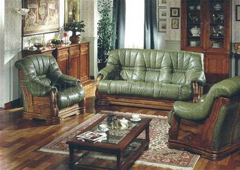 Italian Leather Living Room Sets Pavese Green Italian Leather Classic Living Room Set