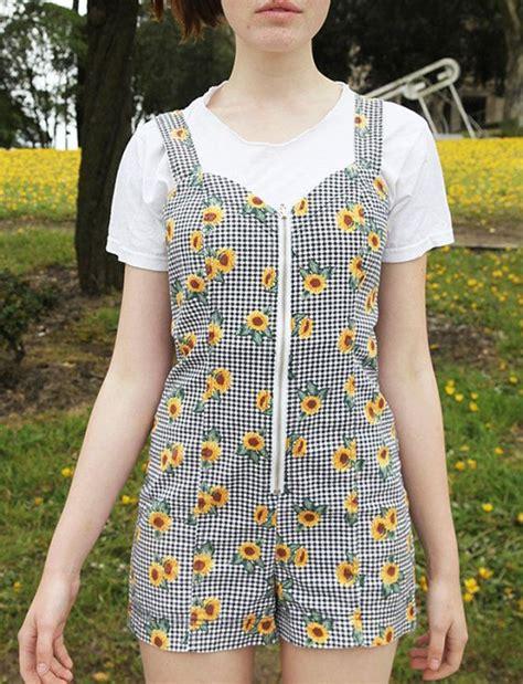 Sun Flower Overall 1 vintage 90s sunflower floral gingham plaid mini zippered overall suspender moda
