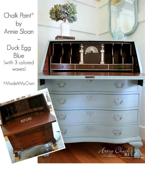 Purple Dressers by Secretary Desk Makeover W Duck Egg Blue Amp 3 Colored Waxes