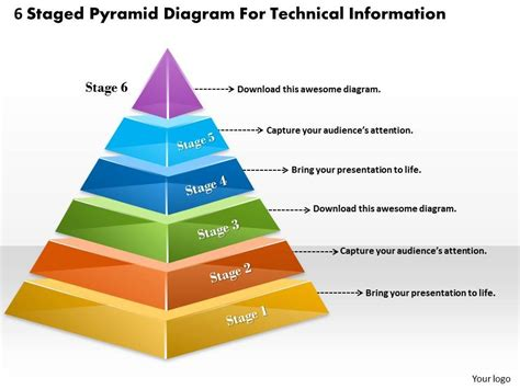 1013 Business Ppt Diagram 6 Staged Pyramid Diagram For Technical Information Powerpoint Template Powerpoint Pyramid Template