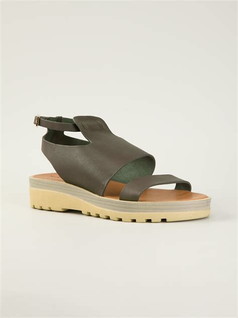 sole sandals see by chlo 233 chunky sole flat sandals in gray lyst