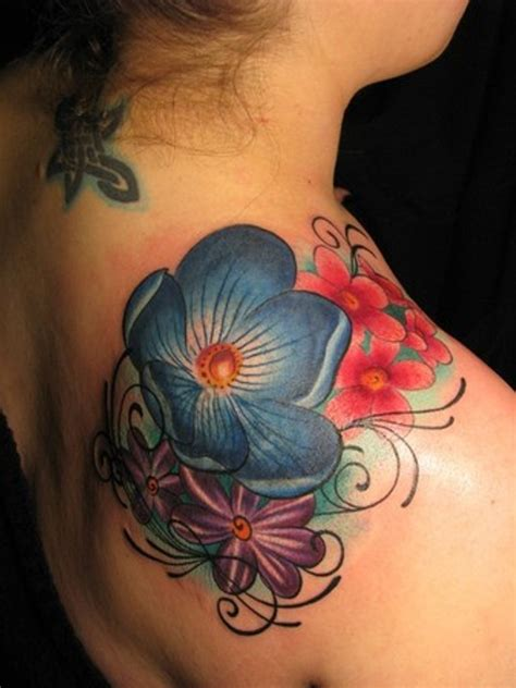 blue flower tattoo purple flower shoulder www imgkid the image