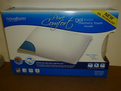 pure comfort gel memory foam pillow new novaform pure comfort memory foam gel pillow ebay