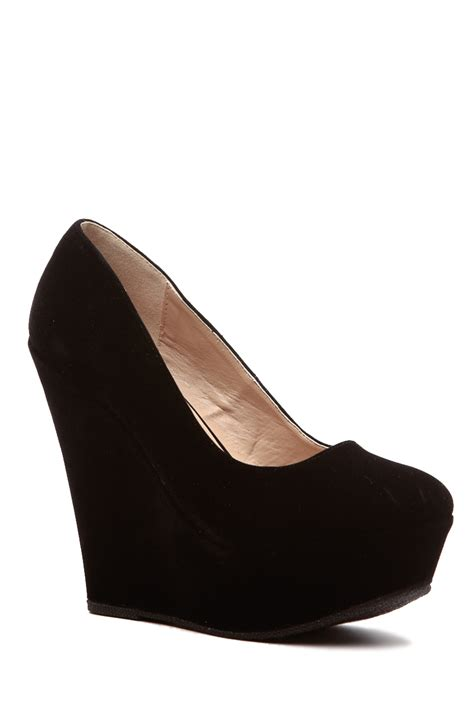 black faux suede classic platform wedges cicihot wedges