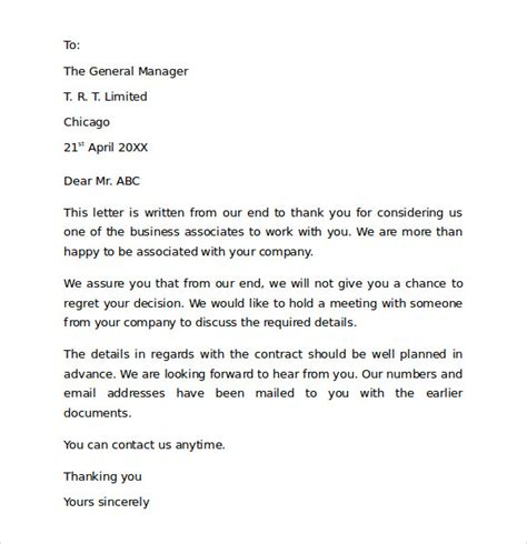 Contract Signing Thank You Letter Sle Thank You For Your Business Letter 9 Documents In Pdf Word