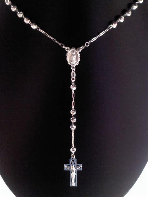 cadenas de plata para hombre rosario rosario de plata ley 925 de 50 cm con bola diamantada