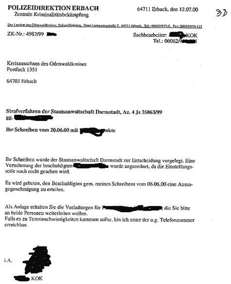 Vermerk Schreiben Verwaltung Muster odenwald strafverfahren staatsanw 228 ltin wagt es dem