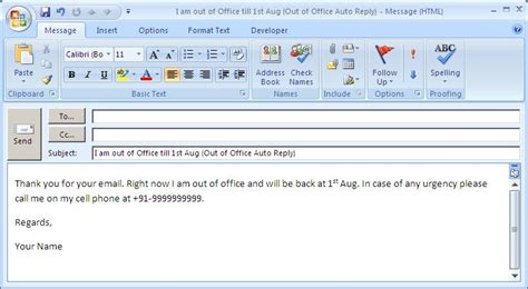 How To Set Out Of Office Auto Reply In Microsoft Office Outlook Without Exchange Server It Automatic Email Reply Template