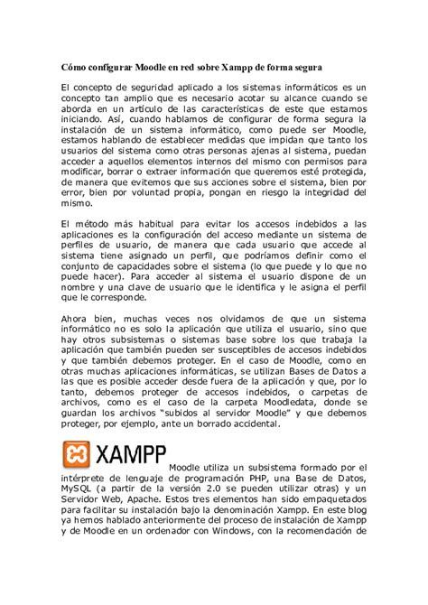 (DOC) Cómo configurar Moodle en red sobre Xampp de forma