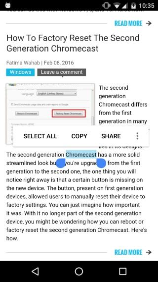 reset android chrome how to do a quick google search for selected text in
