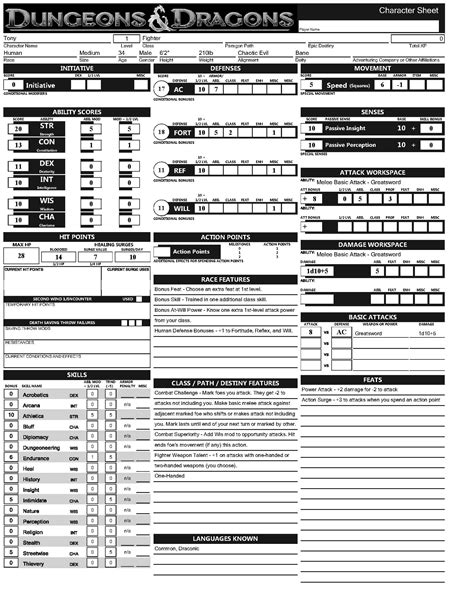 dd 3 5 template list dungeons and dragons character sheet 4th edition www