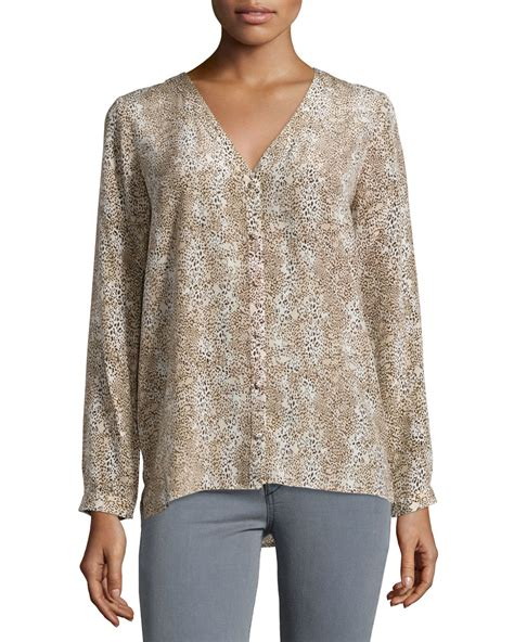 Oat And Fawn Animal Print Blouse by Joie Michi Animal Print Silk Blouse Lyst