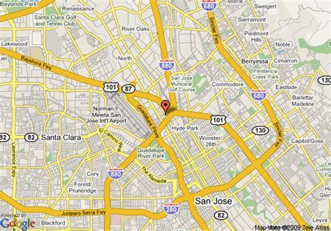 san jose map hotels map of clarion hotel san jose san jose