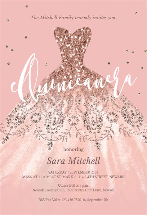 glitter dream dress quinceanera invitation template   island