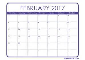 2018 Calendar Presidents Day February 2017 Calendar Weekly Calendar Template