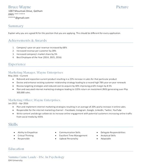 Resume Sles Of 2017 functional resume format 2017 philippines 100 images