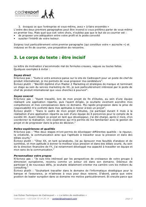 Paragraphe Entreprise Lettre De Motivation Lettre De Motivation