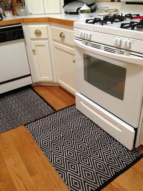 Black Kitchen Rugs Black And White Striped Kitchen Rug Rugs Ideas