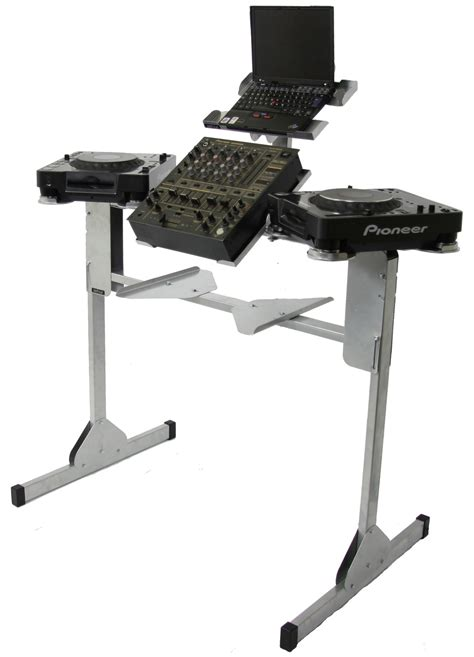 dj desk stand sefour xc250 pro compact dj stand for cd players silver