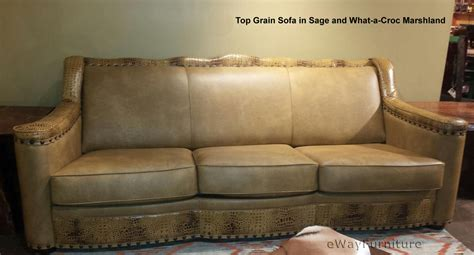 sage leather sofa sage 100 hand cut top grain leather sofa in sage and croc