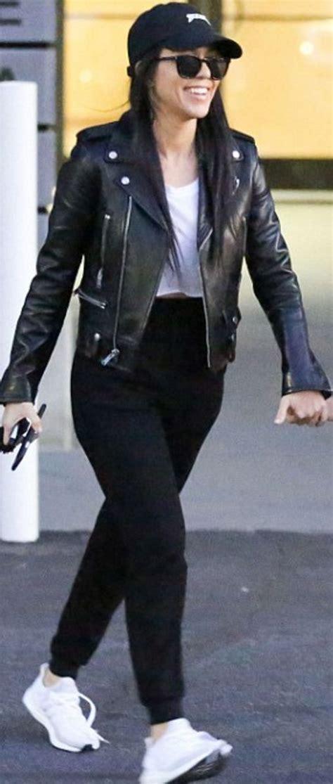 kourtney hat yeezus sunglasses and jacket laurent wang