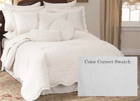 white bed spread quilted white french scalloped bedspread french tile